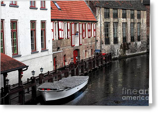 Boats On Water Greeting Cards - All Quiet on the Canal Greeting Card by John Rizzuto