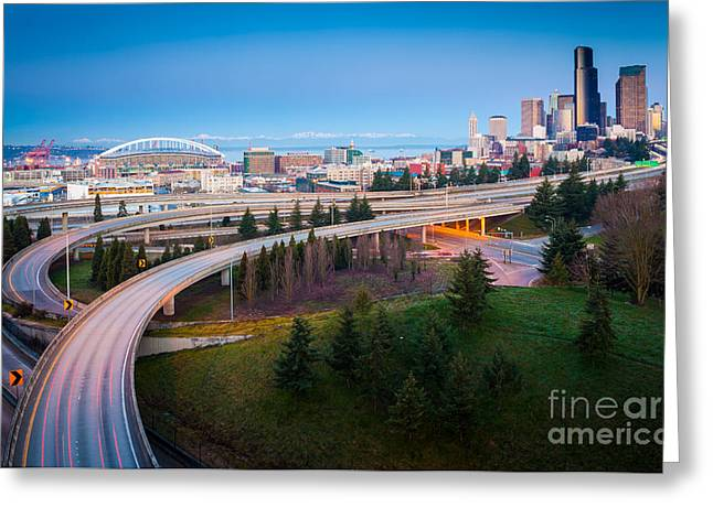 Highway Greeting Cards - All Roads Lead to Seattle Greeting Card by Inge Johnsson