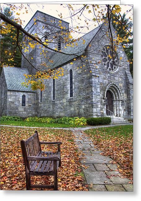 New England Fall Scenes Greeting Cards - All Saints Church - Peterborough NH Greeting Card by Joann Vitali