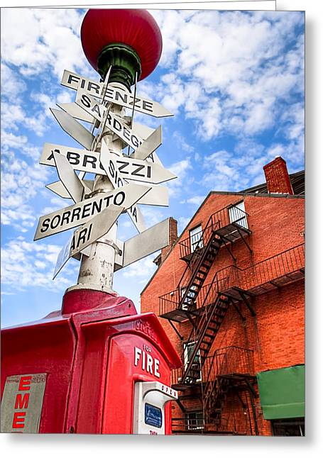 Boston North End Greeting Cards - All Signs Point To Little Italy - Boston Greeting Card by Mark Tisdale