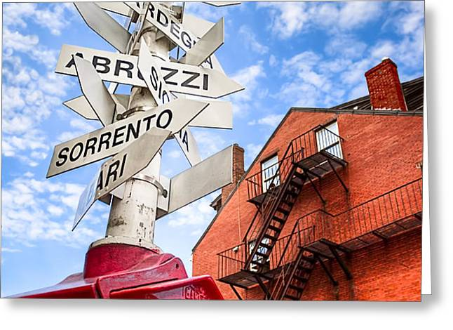 All Signs Point To Little Italy - Boston Greeting Card by Mark Tisdale