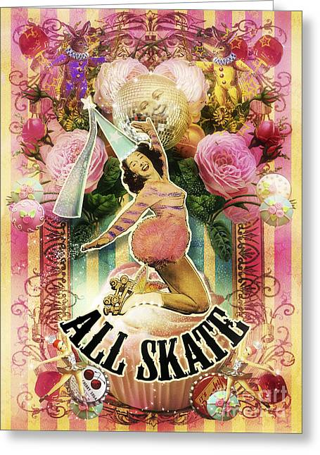 Jester Greeting Cards - All Skate Greeting Card by Aimee Stewart
