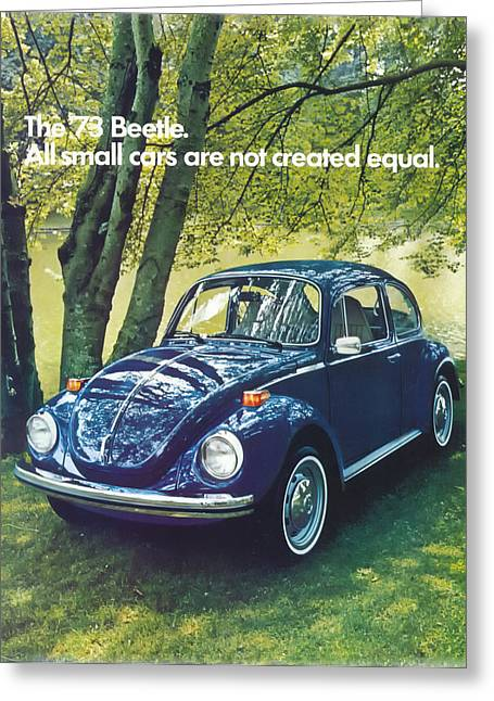 Vw Beetle Greeting Cards - All small cars are not created equal Greeting Card by Nomad Art And  Design