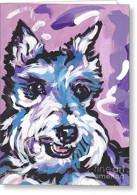 Schnauzer Art Greeting Cards - All Smiles Schnau Greeting Card by Lea
