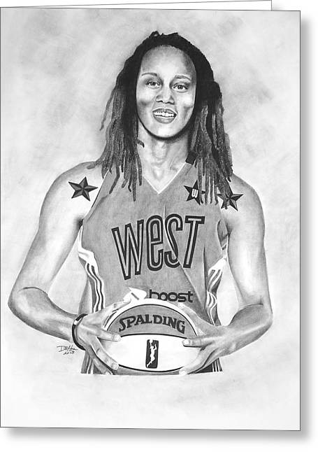 All Star Athlete Drawings Greeting Cards - All Star Brittney Griner Greeting Card by Devin Millington