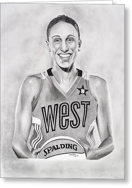 Mvp Drawings Greeting Cards - All Star Diana Taurasi Greeting Card by Devin Millington