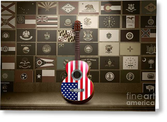 All State Flags - Retro Style Greeting Card by Bedros Awak