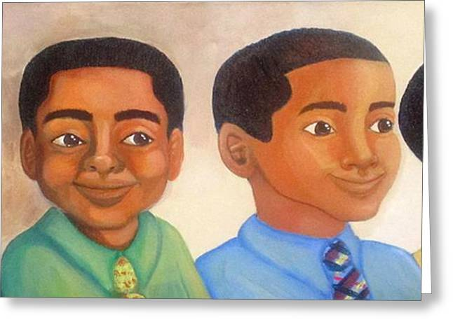 Recently Sold -  - African-american Greeting Cards - All Suited Up With Someplace To Go Greeting Card by Dana Todd Pope