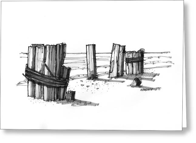 North Shore Drawings Greeting Cards - All That Remains Ocracoke 1970s Greeting Card by Richard Wambach