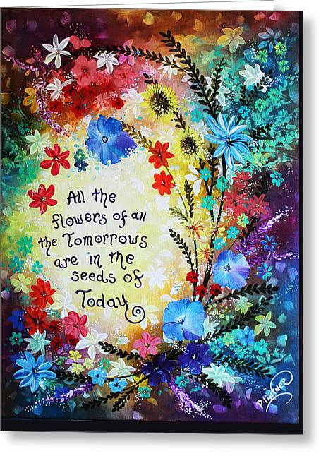 All The Flowers Greeting Card by Patricia Lintner