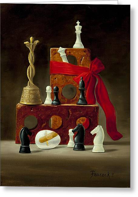 Chess Piece Paintings Greeting Cards - All the Kings Horses Greeting Card by Paula Peacock