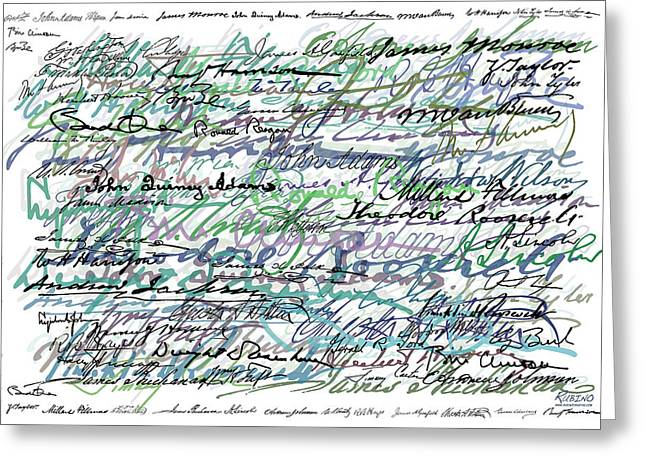President Obama Greeting Cards - All The Presidents Signatures Teal Blue Greeting Card by Tony Rubino