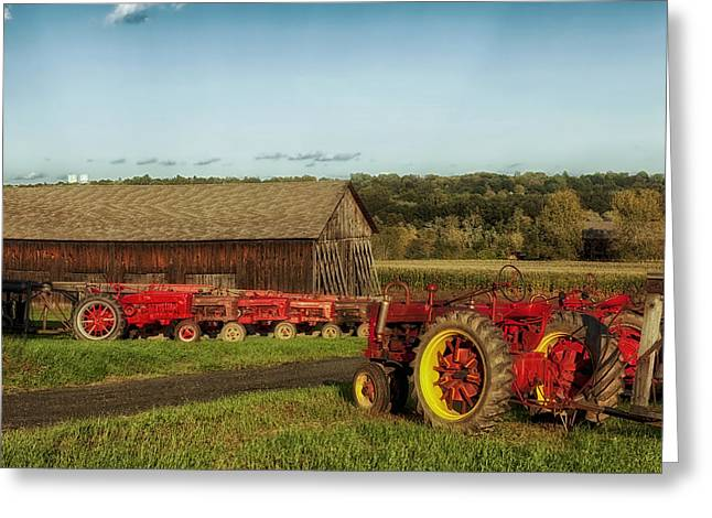 Classic Barn Greeting Cards - All the Red Tractors Greeting Card by Mountain Dreams