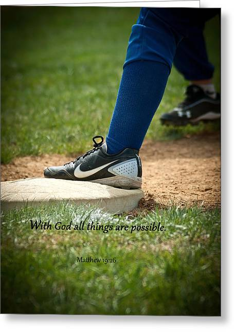 Baseball Uniform Digital Art Greeting Cards - All Things are Possible Greeting Card by Sue Arms
