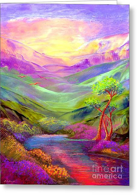 Purple Greeting Cards - All Things Bright and Beautiful Greeting Card by Jane Small
