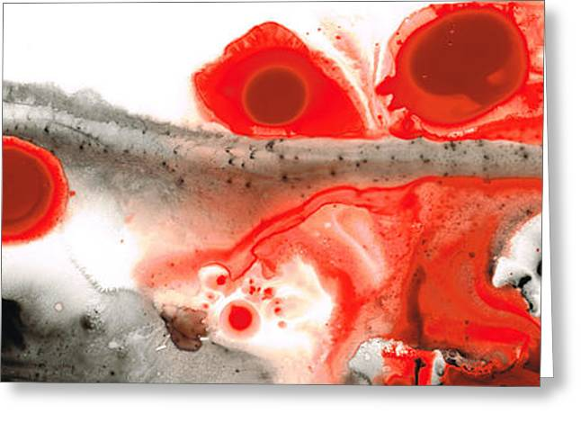 Abstract Spiritual Art Greeting Cards - All Things Considered - Red Black And White Art Greeting Card by Sharon Cummings