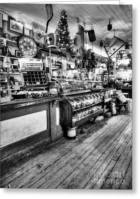 Candy Jar Greeting Cards - All Things In General BW Greeting Card by Mel Steinhauer
