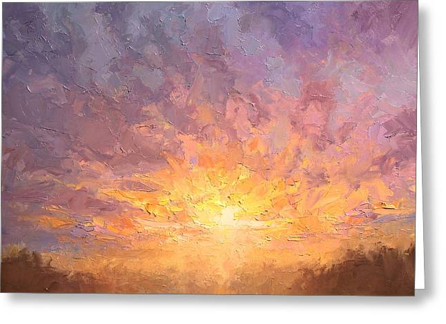 Impressionistic Sunrise Landscape Painting Greeting Card by Karen Whitworth