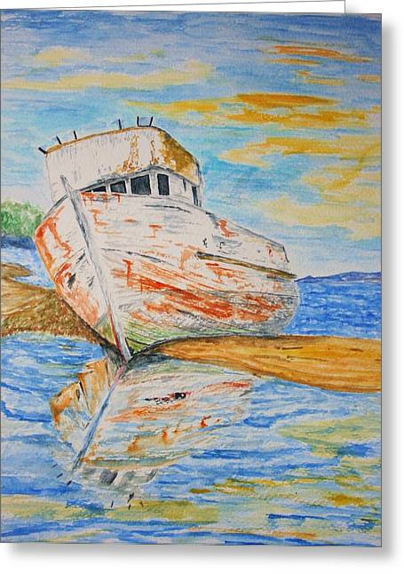 Marin County Drawings Greeting Cards - All Washed Up Greeting Card by Paul Morgan