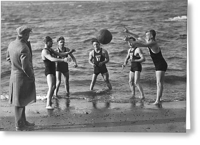 All Weather Ny Swimmers Greeting Card by Underwood Archives