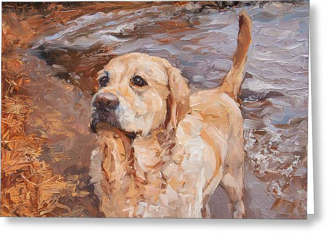 Doggies Greeting Cards - All Wet Greeting Card by James Swanson