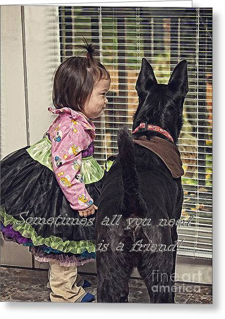 Toddlers Poster Greeting Cards - All You Need is a Friend Greeting Card by Lee Craig