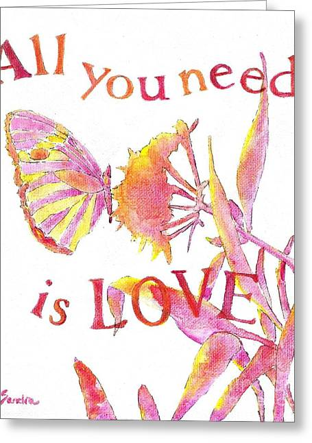 John Lennon Quote Greeting Cards - All you need is love Greeting Card by Sandra Neumann Wilderman