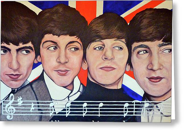 Paul Mc Cartney Greeting Cards - All You Need is Love  Greeting Card by Tom Roderick