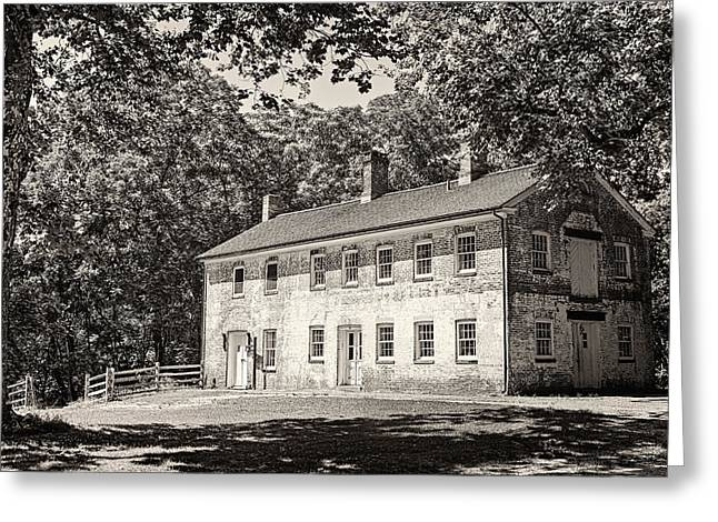 Howell Greeting Cards - Allaire Carpentry Shop BW Greeting Card by Heather Applegate