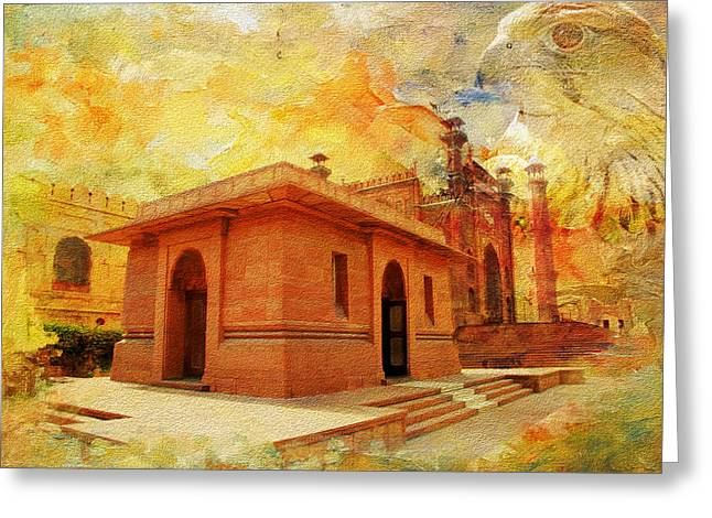 Akbar Shahjahan Greeting Cards - Allama Iqbal Tomb Greeting Card by Catf