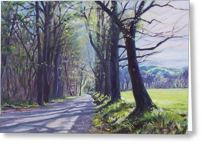 Blue And Green Greeting Cards - Alleghany Spring Greeting Card by Bonnie Mason