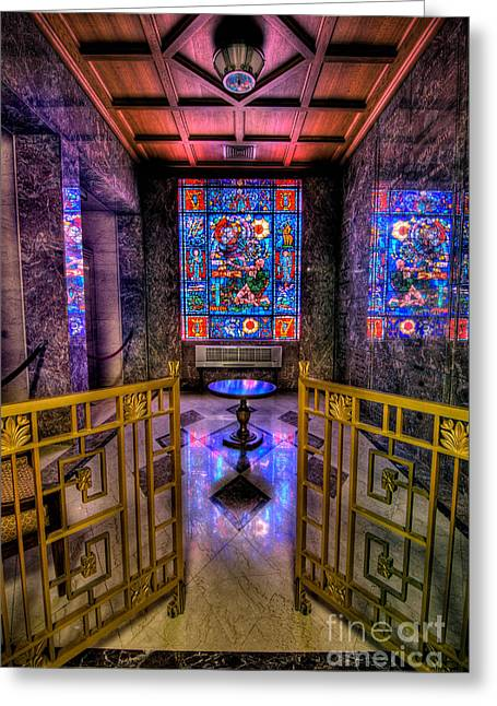 Mausoleum Greeting Cards - Allegheny Cemetery Mausoleum Stained Glass HDR 1 Greeting Card by Amy Cicconi