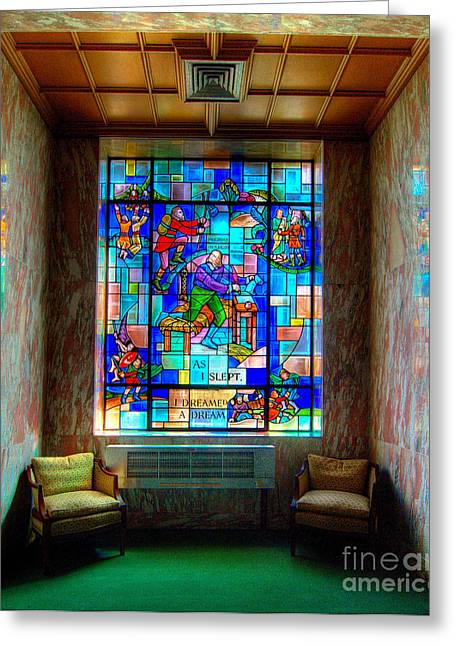 Glass Greeting Cards - Allegheny Cemetery Mausoleum Stained Glass HDR 4 Greeting Card by Amy Cicconi