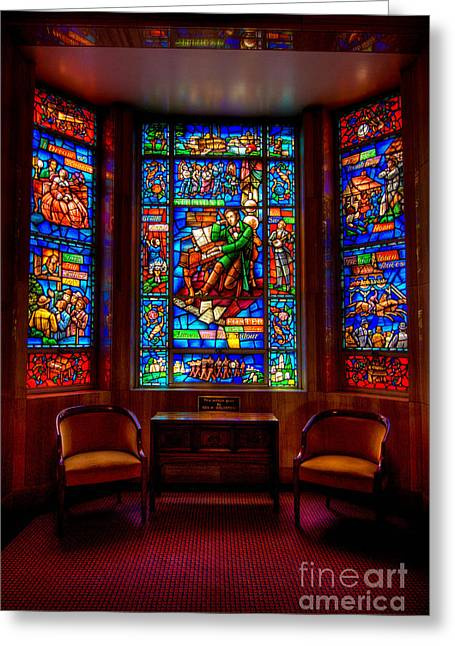 Mausoleum Greeting Cards - Allegheny Cemetery Mausoleum Stephen Foster Stained Glass HDR 3 Greeting Card by Amy Cicconi