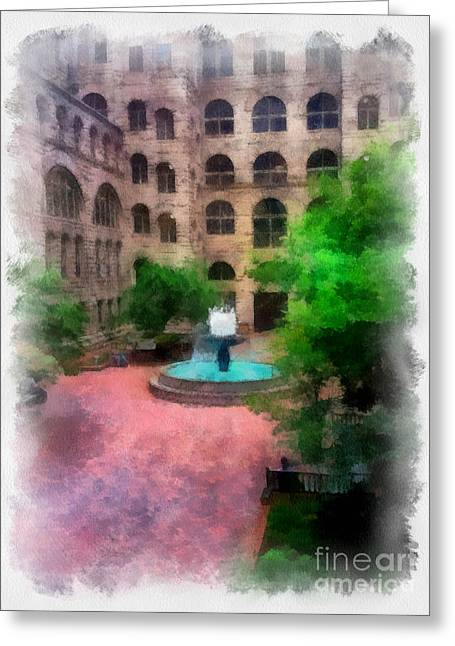 Cobblestone Greeting Cards - Allegheny County Courthouse Courtyard Greeting Card by Amy Cicconi