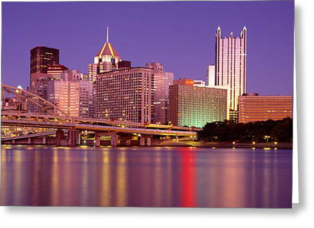 Moonrise Greeting Cards - Allegheny River, Pittsburgh Greeting Card by Panoramic Images