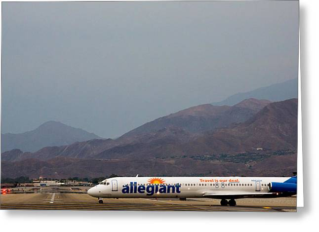 Palm Springs Airport Greeting Cards - Allegiant at Palm Springs Airport Greeting Card by John Daly