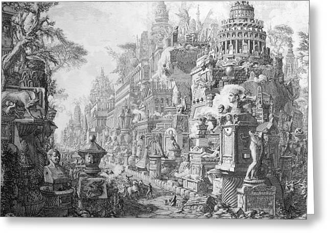 Ancient Ruins Drawings Greeting Cards - Allegorical Frontispiece of Rome and its history from Le Antichita Romane  Greeting Card by Giovanni Battista Piranesi