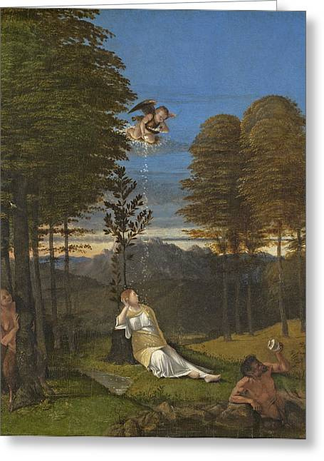 Maidens Greeting Cards - Allegory Of Chastity, C. 1505 Oil On Panel Greeting Card by Lorenzo Lotto