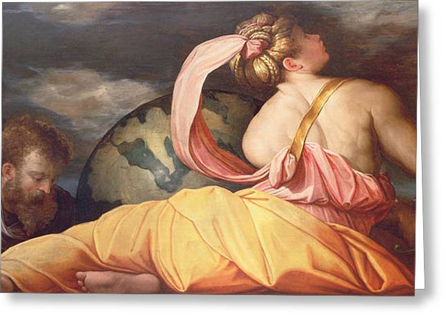 Geography Paintings Greeting Cards - Allegory of Geography Greeting Card by Giorgio Vasari