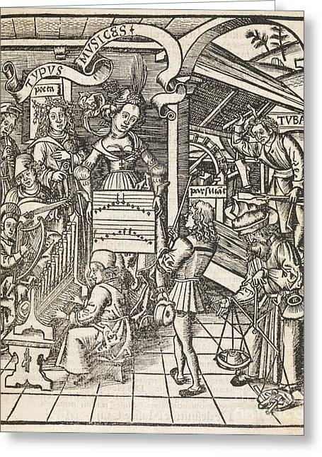 Playing Musical Instruments Greeting Cards - Allegory Of Music, 16th Century Greeting Card by Middle Temple Library