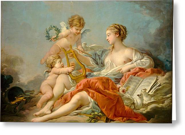 Allegory Of Music Greeting Card by Francois Boucher
