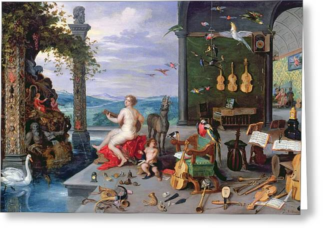 Playing Musical Instruments Greeting Cards - Allegory Of Music Oil On Canvas Greeting Card by Jan the Elder Brueghel