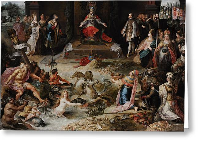 Fran Greeting Cards - Allegory Of The Abdication Of Emperor Charles V In Brussels, C.1630-1640, By Frans Francken Greeting Card by Bridgeman Images