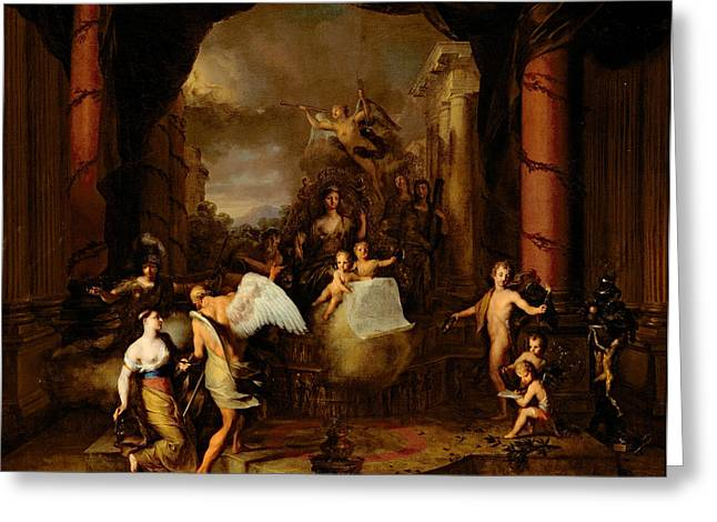 Allegories Greeting Cards - Allegory of the city of Amsterdam Greeting Card by Gerard de Lairesse
