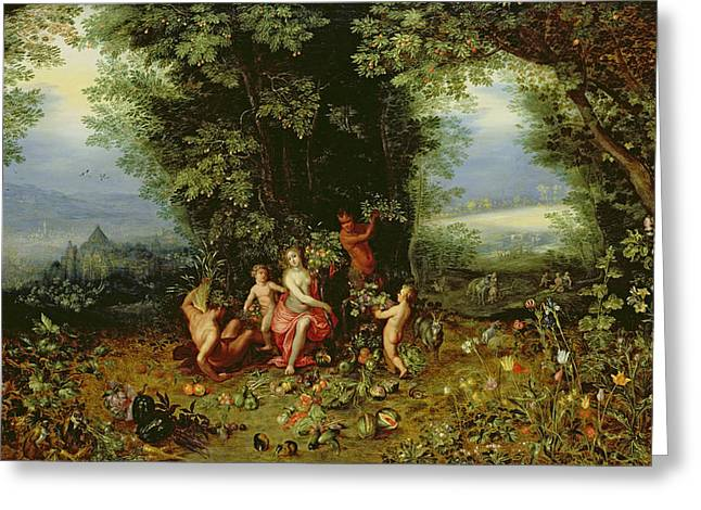 Hendrik Greeting Cards - Allegory of the Earth Greeting Card by Brueghel and Balen