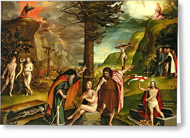 Prophet Moses Greeting Cards - Allegory Of The Old And New Testaments, Early 1530s Oil On Panel Greeting Card by Hans Holbein the Younger