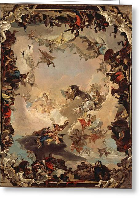Giovanni Battista Tiepolo Greeting Cards - Allegory of the Planets and Continents Greeting Card by Giovanni Battista Tiepolo
