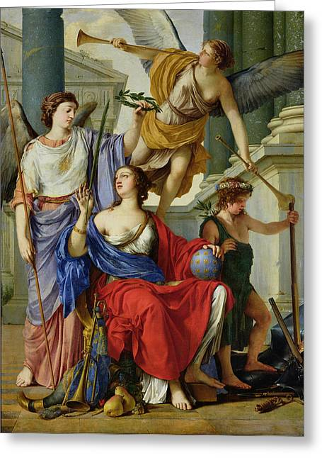 Allegory Of The Regency Of Anne Of Austria 1601-66 1648 Oil On Canvas Greeting Card by Laurent de La Hire or La Hyre