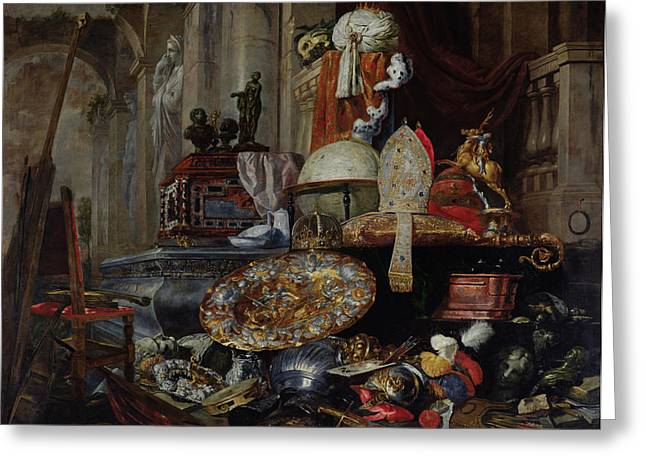 Breastplate Greeting Cards - Allegory Of The Vanities Of The World, 1663 Oil On Canvas Greeting Card by Pieter or Peter Boel